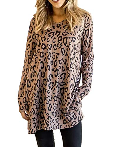Maysoar Womens Tunic Tops Leopard Print Shirt Long Sleeve V Neck Blouse (XX-Large, Brown)