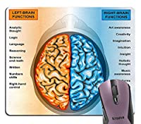 人間の脳の左右の機能リストの引用マウスパッドおしゃれスリップ防止、教育精神知能神経学コンピュータ用マウスパッドおしゃれスリップ防止かわいいマット