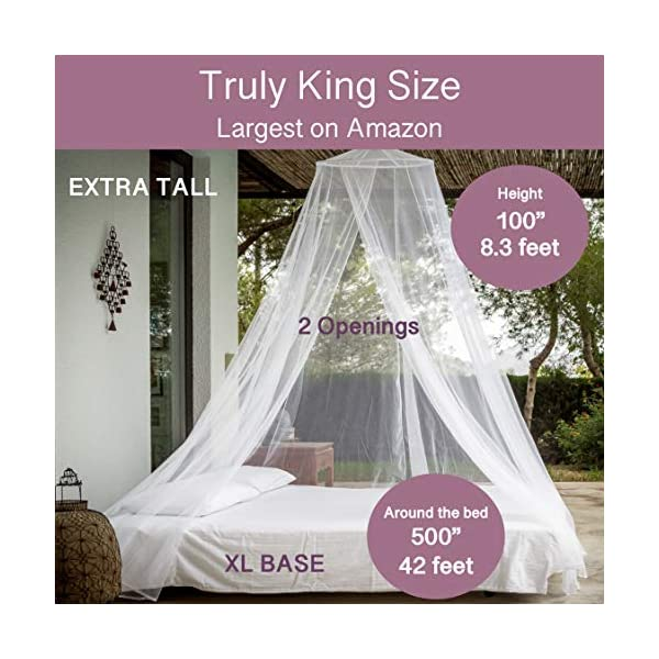 No Chemicals Added Curtain Netting Quick Easy Installation Ultra Large: for Single To King Size Storage Bag 2 Entries Finest Holes: Mesh 380 500 Luxury Mosquito Net Bed Canopy