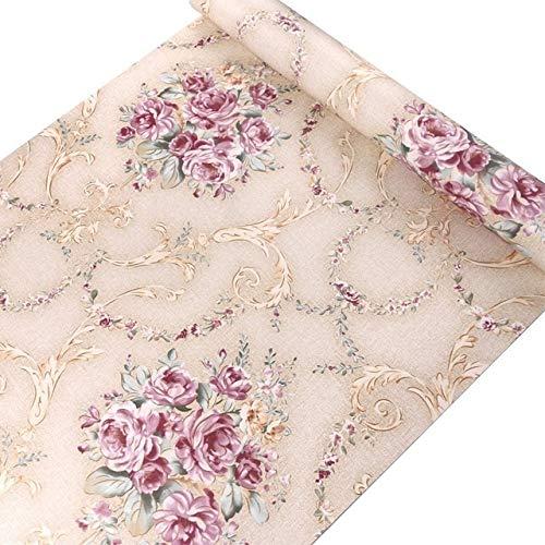jidan Land 3D-Tapete Blumen Wandplatte Natur Feld PVC wasserdichte Selbstklebende Tapeten for Schlafzimmerdekoration (Color : Pink, Dimensions : 10mx45cm)