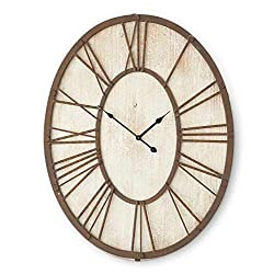 K&K Interiors 15106A 30 Inch Wooden White Washed Oval Clock with Rusty Metal Roman Numerals