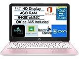 2021 Newest HP Stream 11.6' HD Laptop Computer, Intel Celeron N4020 Processor, 4GB RAM, 64GB eMMC Flash Memory, 1-Year Office 365, HDMI, Bluetooth, Windows 10, Pink, AllyFlex MP, Online Class Ready