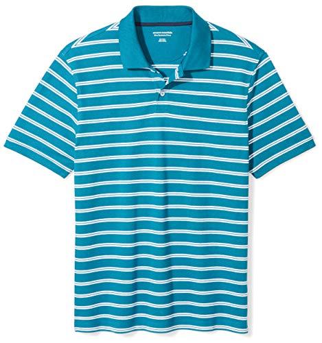 Amazon Essentials Men's Slim-Fit Cotton Pique Polo Shirt, Teal Stripe, X-Large