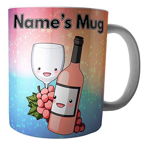 Tasse à vin rose et raisins – Cadeau personnalisé – Ajoutez n'importe quel nom