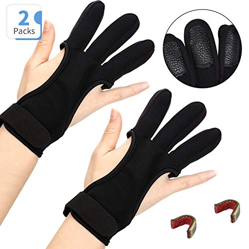 2 Stück Bogenschießen Handschuhe Schießhandschuh mit 2 Schnur Nock Punkte DREI Finger Schutz Schießen Finger Guard Schutz Bogenschießen Handschuhe für Männer Frauen