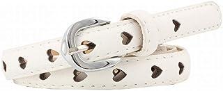 JOYS CLOTHING 金属のバックルが付いているジーンズのための女性のHollowrの花の薄いヴィンテージ服ベルト (Color : White)