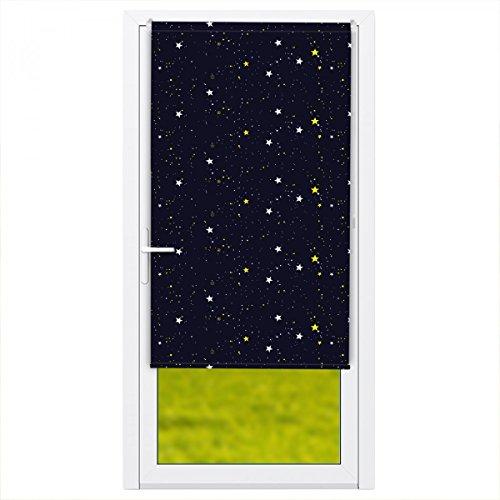Klemmfix Verdunkelungsrollo für Türen/Balkontür :: Rollos für innen ohne Bohren 100x210 cm Sterne
