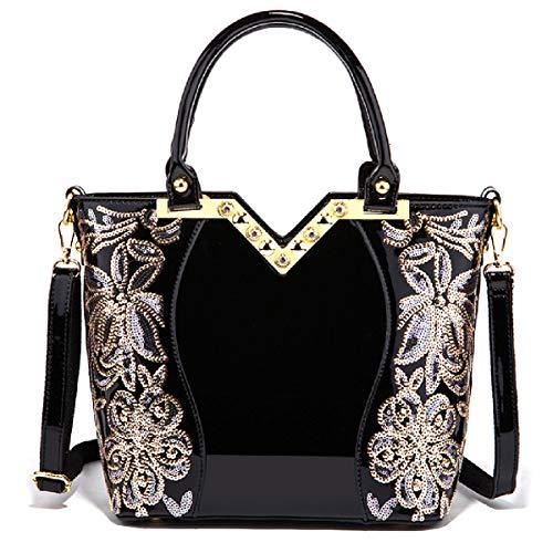 LOVE LABINI Damen Tasche Lackleder Handtasche Schulter Mode neue Stickerei elegant schwarz