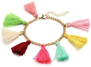The Bling Stores Bracelet with Colorful Tassel Adjustable Hand Chain for Women and Girls