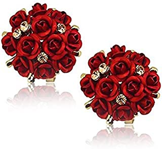 YouBella Stylish Party Wear Jewellery Gold Plated Studs Earrings for Women (Red)(YBEAR_31673)