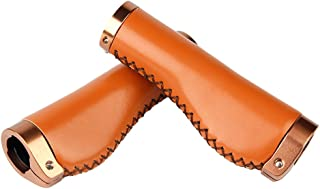 Hand-stitched Leather Lock-on Bicycle Handlebar Grip inner Diameter 22.2mm, Length 137mm(Brown)