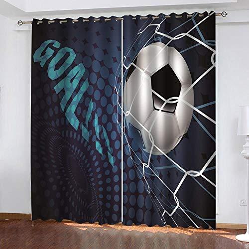 JYNVOAT Vorhang Blickdicht Kinderzimmer - Thermo Gardinen Blickdicht Fußball Vorhänge für Schlafzimmer Dekoschal mit Ösen,Polyester, Blau, 2er Set B 91.5 x H 214 cm