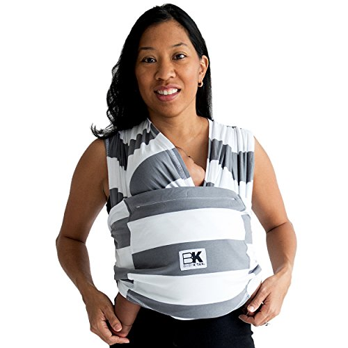 Baby K'tan Print Baby Wrap Carrier, Infant and Child Sling-Charcoal Stripe, Women up to 0 (XX-Small). Newborn up to 35 Pound Best for Babywearing.