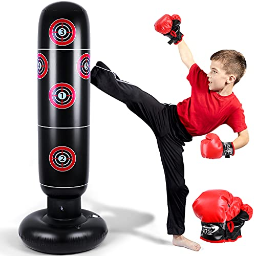 Inflatable Punching Bag for Kids, 63 inch Punching Boxing Bag with Gloves Kids Punching Bags...