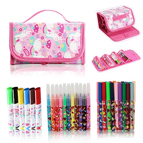 SuperStyle Washable Markers for Kids with Holder, Arts and Crafts Kids Paint Classroom Decorations and Supplies Color Markers Pencil Case For Girls Gift for Kids Inspiration Art Case Color Set(Pink)
