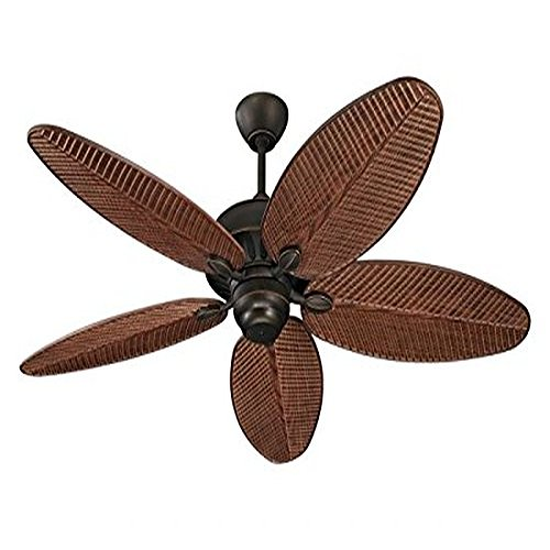 "Monte Carlo 5CU52RB Cruise Tropical 52"" Outdoor Ceiling Fan, 5 ABS Palm Leaf Blades, Roman Bronze"