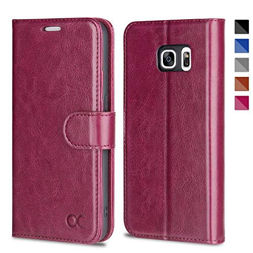 OCASE Samsung Galaxy S7 Hülle, Handyhülle Samsung Galaxy S7 [Premium Leder] [Standfunktion] [Kartenfach] [Magnetverschluss] Leder Brieftasche für Galaxy S7 Burg&y