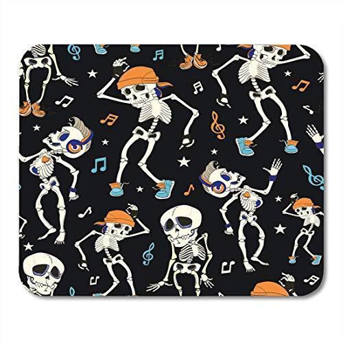 Muismat blauw kostuum dans skelet party Halloween muziek disco Isla Vista kalifornië grappig hoofdtelefoon oranje