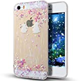 iPhone SE Case,iPhone 5S Case,iPhone 5 Case, iPhone SE/5S TPU Case,NSSTAR Pink Cherry Blossom Rabbit Inside Glitter Diamond Rainbow Color Clear TPU Soft Silicone Design Case Cover for Apple iPhone SE 2016 & iPhone 5S 5,A14