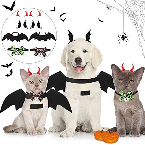 8 Piezas Disfraces de Perros Gatos Mascotas Incluyen Alas de Murciélago de Halloween, Collar de Lazo con Campana Pinzas de Cabello de Buey Disfraz para Niños Adultos Fiesta de Halloween