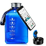 SOCOO Square Black Water Jug BPA Free 2.7Litre Half Gallon Water Bottle W/Phone Holder Leak Proof Large Water Bottle W Motivational words BPA free Big Sports Water Bottle Jug with Handle (91oz black)