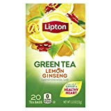Lipton Green Tea Bags Flavored with Other Natural Flavors Lemon Ginseng Can Help Support a Healthy Heart, 20 Count, Pack of 6