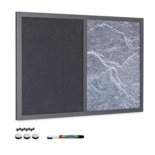 Navaris Kombitafel aus Kreidetafel und Pinnwand - Memoboard 60x40 cm mit magnetischer Tafel und Textil Pinnboard - inkl. Marker Pins Magnet Schrauben