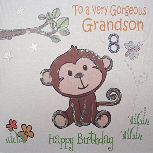 witte katoenen kaarten To A Very Gorgeous Grandson 8 Happy, handgemaakte 8e verjaardagskaart (brutale aap)