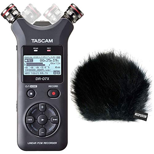 Tascam DR-07X Stereo Audio-Recorder mit Interface-Funktion + keepdrum Fell-Windschutz