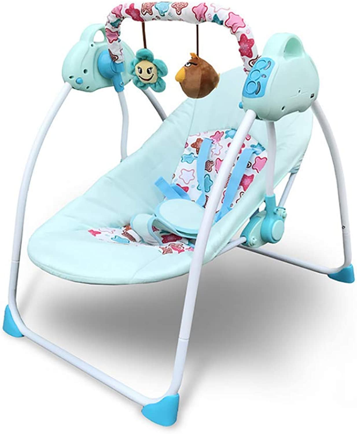 Crib Multifunctional Smart Electric Comfortable Breathable Cradle Recliner Suitable for Newborns 0-6 Years Old Baby Four Seasons Universal,bluee