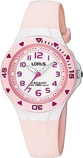 RRX49CX9 - Reloj analógico infantil de cuarzo con correa de plástico rosa (luz) - sumergible a 100 metros