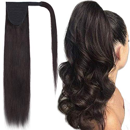 Ponytail Human Hair Extensions Real Hair Wrap Around Ponytail Hairpieces Remy Hair Clip in Pony Tails One Piece Ponytail Hair Piece with Magic Paste For Women 14inch 80g #1B Natural Black