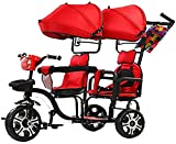 GST Tricycle Trike Twins Kids Baby Tricycle 2 Children Bicycle W/Safety Double Rotatable Seat, Detachable Awning, Folding Foot Pedals, Enlarged Storage Basket, for Children Age 1 to 7Years Old