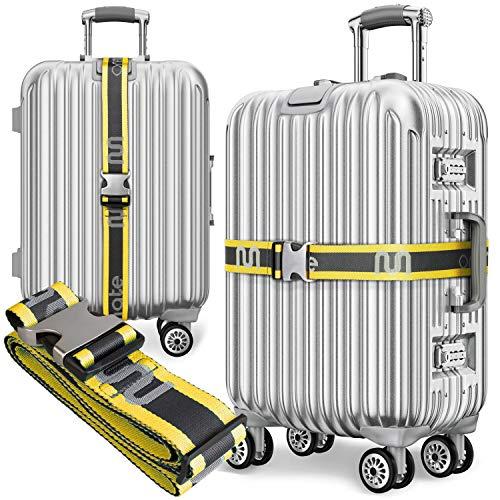 onemate ® Koffergurt-Set aus Recycelten PET-Flaschen – Unfassbar Robustes Kofferband mit Metallschnalle - 2er gelb