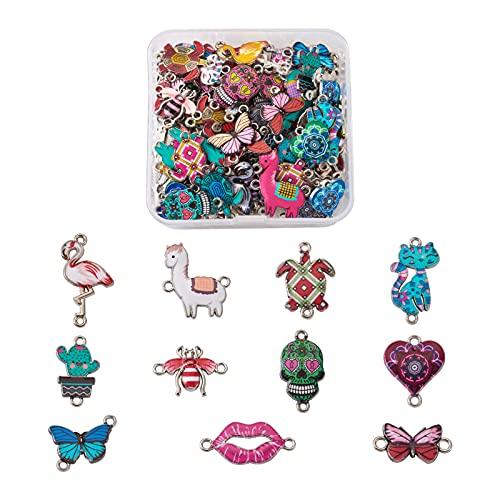Cheriswelry 110 unids aleación impresa esmalte enlaces gato mariposa corazón forma cráneo cabeza conectores colgantes encantos para joyería pulsera haciendo 2 agujeros