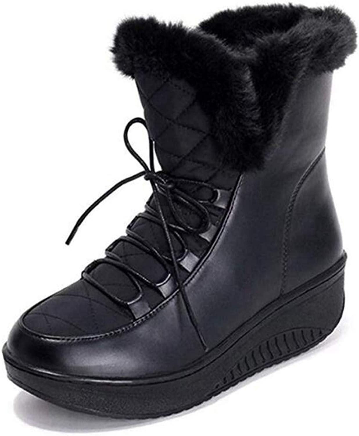 Fashion shoesbox Women's Winter Waterproof Snow Boots Warm Thick Fur Inside Round Toe Lace Up Platform Wedges Ankle Boots