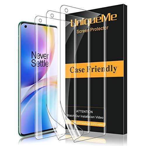 UniqueMe [3 Stück] Schutzfolie für Oneplus 8 Pro Folie, Oneplus 8 Pro Flexible Displayschutzfolie Soft HD TPU Klar Displayschutz
