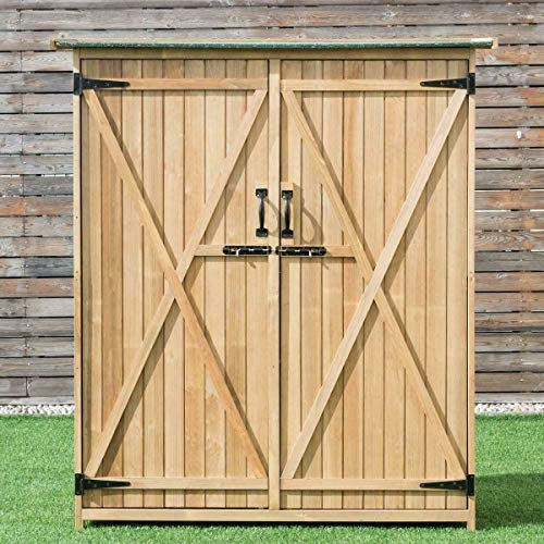 ANA Store Outside Equipment Tool Studio Chest 56''×20''×64''(L×W×H) Sloped Waterproof Green Asphalt Roof Wooden Stash Storehouse Storage Shed Cabinet Garden Outdoor Fir Wood Lockers Double Doors