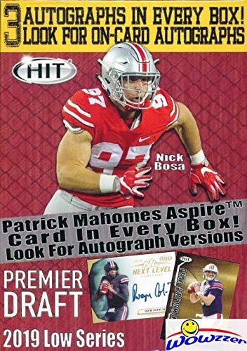 2019 Sage Hit Football Factory Sealed Retail Box with THREE(3) AUTOGRAPHS, 70 Cards & EXCLUSIVE PATRICK MAHOMES Card! Look for Rookies & Autos of Dwayne Haskins,Daniel Jones,Drew Lock & More! WOWZZER (Auto Autograph Card)
