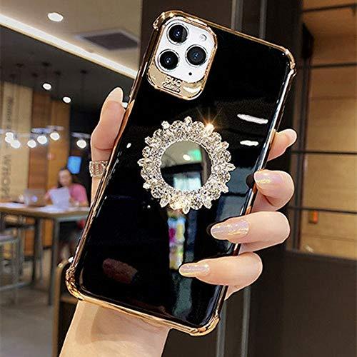 AAA&LIU Electroplate 3D Glitter Bling Rhinestone Mirror Bracket Funda Suave para teléfono para iPhone X XR XS 11 12 Pro MAX 7 8 Plus Funda, 7, para iPhone 12