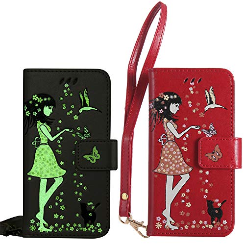 BestCatgift per Samsung Galaxy J6 (8) SM-J600 Custodia [Luminous Woman Cat Design] PU Leather Flip Wallet Cover Protective Shell with [Wrist Strap] - Red