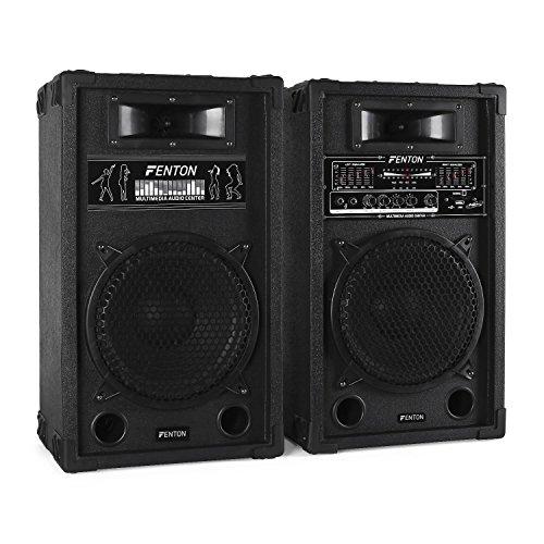 Skytec SPA1000 PA Lautsprecher Aktivboxen Set (800 Watt max, 25 cm (10'')-Subwoofer, USB-Port, SD-Slot, 2 x 6,3 mm-Klinke-Mic-In, Cinch-Line-In) schwarz