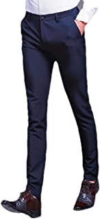 Mogogo Mens Business Easy Care Fashion Stretch Tapered Plain Front Pant