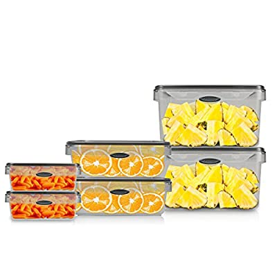 Stor-All Solutions Press N' Click Containers Rectangle Food Storage Set, 12 Piece, Clear, Count
