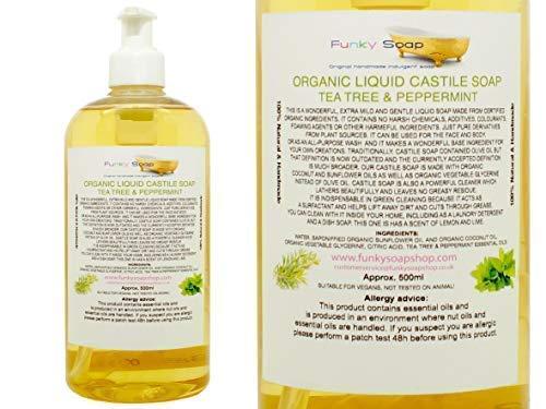 Organique Liquide Savon de Castille, Arbre de Thé / Menthe Poivrée 100% Naturel sans Laureth Sulfate de Sodium 500ml