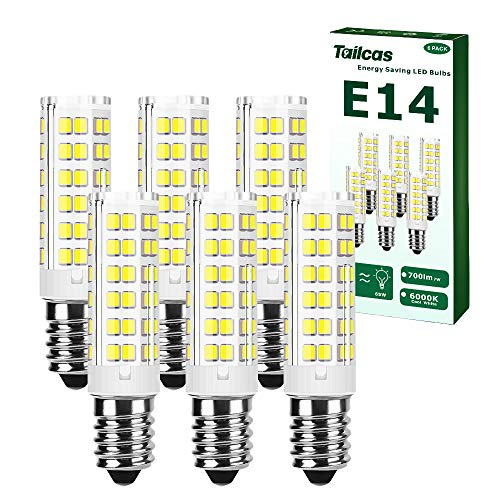 E14 Led Birne Kaltweiß, 7W Glühbirne E14(65W Traditionelles Lampen Äquivalent)15.1 mm x 65 mm, 6000K, 700Lm, AC 220-240V, Nicht Dimmbar, Ohne Flackern, für Küche, Wohnzimmer (6 Stück)
