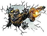 Wandtattoo / Wand-Aufkleber mit Transformers-Bumblebee-Motiv, selbstklebend, 100 cm breit und 60cm hoch, Größe L