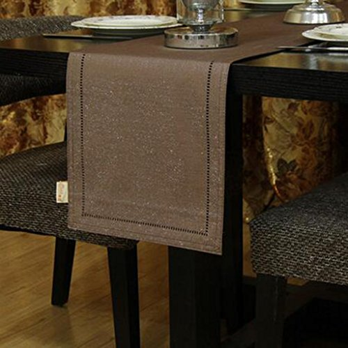 En touch av vinglas modern bordsflagga kaffe bordsduk konsol bordsflagga TV bänk tyg pianotäcka tyg och stilar (färg: Lätt kaffefärg, storlek: 33 x 183 cm)