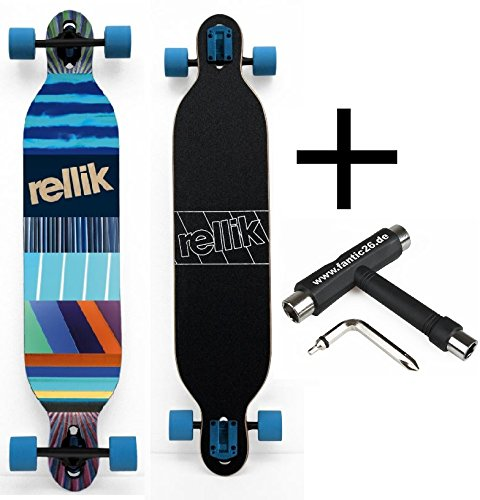 Rellik Longboard Blue Pattern Drop Through 42,125 x 8,5 + Fantic26 Skatetool