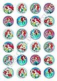 24 x Disney Prinzessin Meerjungfrau Ariel Feier Essbare Papier Cupcake Toppers Kuchen Dekoration Geburtstag